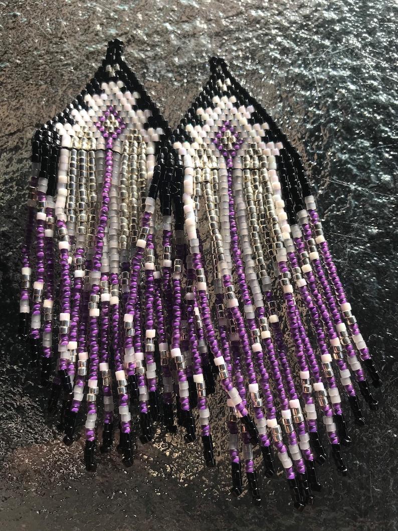 Premium Delica Miyuki Beads Purple Rain Beaded Fringe Earrings
