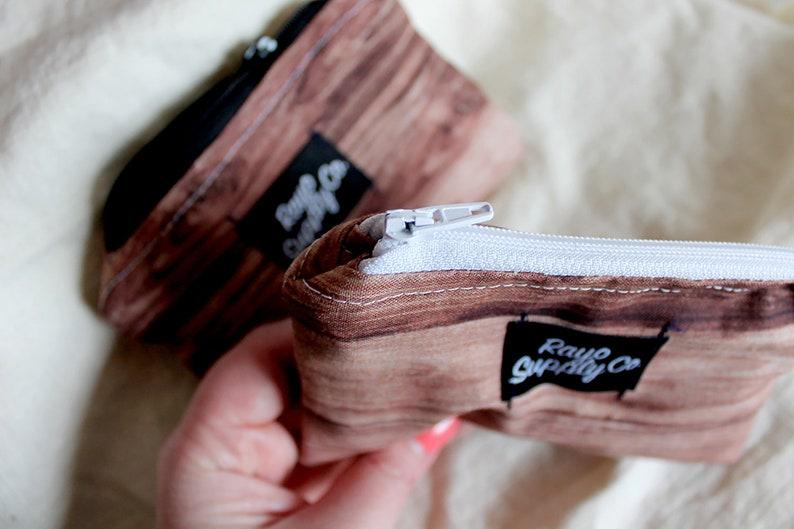 Brown Coin Purse Photo realistic white Wood Grain Mini Pouch Small black Log Cabin zipper pouch