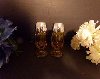 Amber Salt and pepper Shakers 1970s