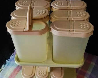 Tupperware Spice Carousel  2164/ and 13 Spice Containers   PreOwned No signs of Use  1970s