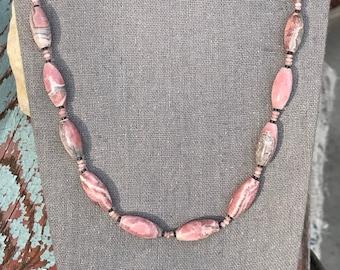 Rhodochrosite Gemstone Necklace   Natural Pink Rhodochrosite 26 Inch Necklace   Pink Rhodochrosite with Gray Hematite Gemstone Necklace