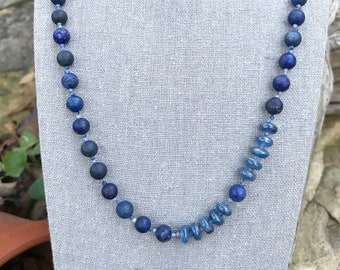 Lapis Lazuli and Kyanite Gemstone Necklace   Matte Lapis Lazuli, Blue Kyanite, and Sodalite Gemstone Necklace   24 Inch Blue Necklace