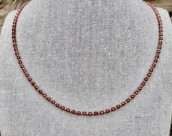 Garnet and Pyrite Gemstone Necklace with Handmade Silver Hook Clasp   Faceted Garnet and Micro Faceted Pyrite 18 1/2 Inch Gemstone Necklace