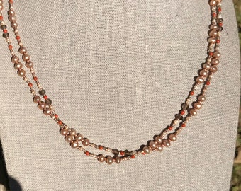 Taupe Pearl Necklace with Smokey Quartz and Red Jasper Gemstones   Long Wrap Taupe Pearl, Smokey Quartz, and Red Jasper Necklace