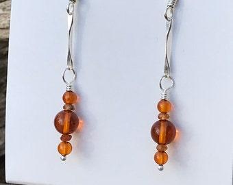 Amber and Hessonite Garnet Dangle Earrings   Burnt Orange Baltic Amber with Faceted Hessonite Garnet 5mm Dangle Earrings   Amber Earrings
