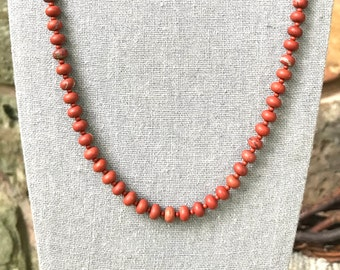 Red Jasper with Red Creek Jasper Necklace   25 Inch Matte Red Jasper Necklace   Natural Matte Red Jasper Rondelle Unisex Necklace 25 Inches