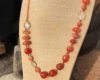 Carnelian and Citrine Gemstone Necklace   28 Inch Orange Gemstone Necklace   Carnelian Nugget and Faceted Citrine Gemstone Necklace