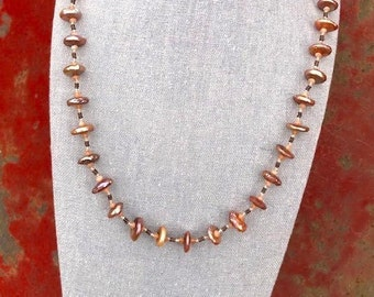 Peach Coin Pearl Necklace with Faceted Peach Moonstones and Matte Rust Brown Hematite   27 Inch Peach Pearl and Peach Gemstone Necklace