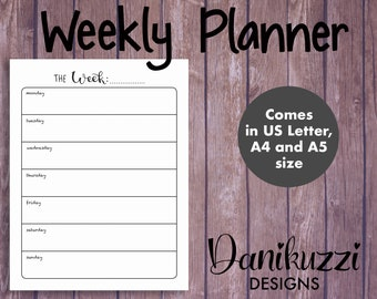 Weekly Planner Printable - Plain-themed. Bullet Journal Weekly Insert. US Letter, A4, A5 Size. INSTANT DOWNLOAD.