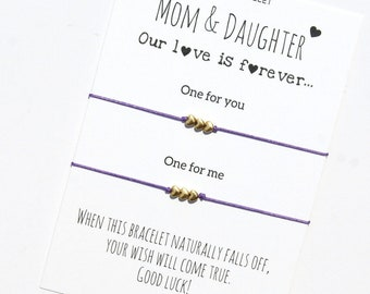 Mother Daughter Bracelet Wish bracelet for 2 Mother Daughter Gift  Mother's day gift from daughter  Gift for Mom gift Mom and daughter