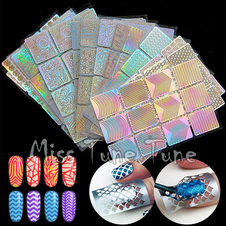 24pcs Large Nail Art Stencils Stamping Stickers Multiple Use Etsy
