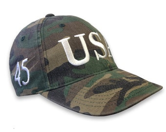 eccd43a7492 CAMO Trump Usa 45 President Inauguration 100% cotton Cap with White  Embroidery Hat Free Shipping