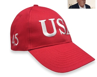 d69f48d9496 Trump Usa 45 President Inauguration 100% cotton Red or Navy Cap with White  Embroidery Hat Free shipping