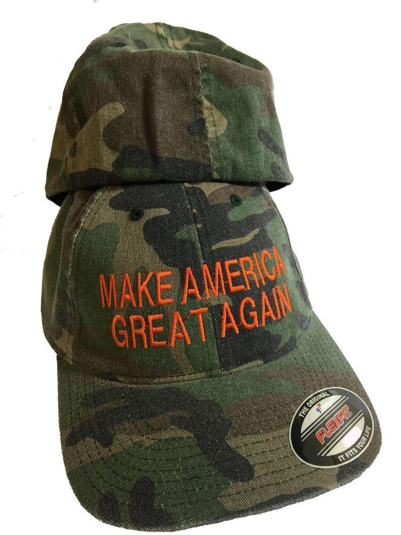 the best attitude 8d804 1eab6 CAMO FlexFit Trump Hat Make America Great Again Cotton Cap   Etsy