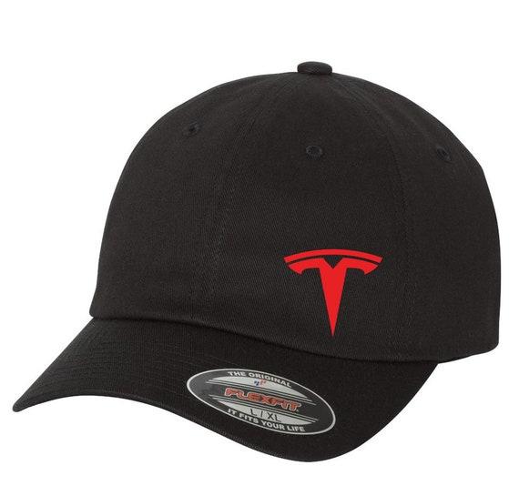 Side Logo Tesla Motor Flex Fit Hat Vinyl or Embroidery Choose  a085642bb31