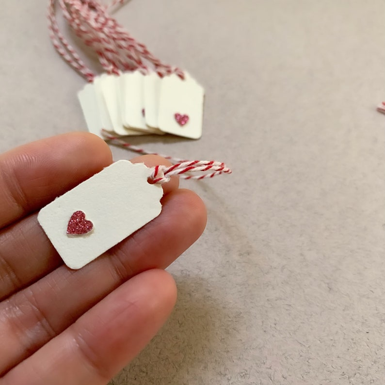 20 Tiny Gift Tags Pink Heart Gift Tags Handmade Gift Tags  Small Gift Tags Heart Gift Tags Mini Gift Tags with Twine