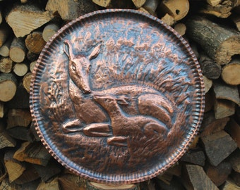 Handmade Copper Panel: Doe and fawn, Bambi.