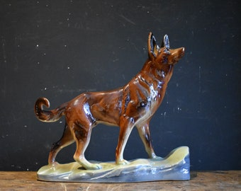 Shiny and Kitsch Ceramic German Shepherd - Belgian Pottery Alsatian Ornament by H Bequet, Quaregnon