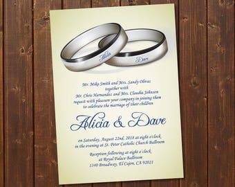 Set Of 4 Silver Purple Wedding Invitation Template Printable Etsy
