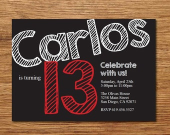 13th Birthday Invitation For Boys Printable Teenager Black Red Any Color Invite Him