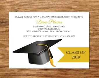 On Sale Class Of 2019 Graduation Invitation Card Etsy