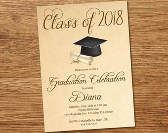 Class Of 2018 High School College Graduation Invitation Card Etsy