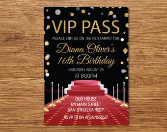 ANY AGE Printable VIP Pass Hollywood Red Carpet Sweet 16 Birthday Invitation Black Glitter Gold Party For Her Him