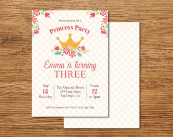 Any Age Girl Birthday Invitation Printable Pink Princess E Card Template Vintage