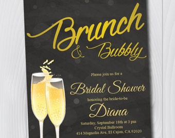 Printable Gold & Black Bridal Shower Invitation/E-Card Invite/Printable Bridal Shower Template/Brunch and Bubbly/Miss to Mrs Invitation