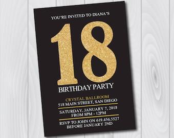18th Birthday Invitation Printable Gold Black Birthday Etsy