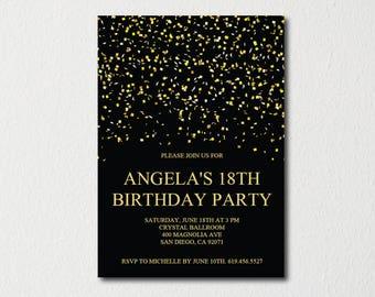 Birthday Invitation Template Printable Gold White Birthday Etsy