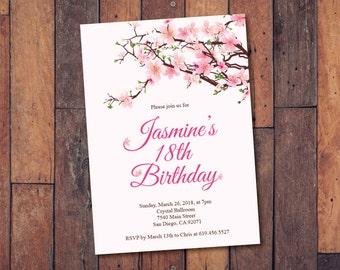 18th birthday invitations etsy 18th birthday invitationprintable cherry blossom birthday invitationecard invitationtemplatebirthday invitationeighteenth birthdaypink filmwisefo