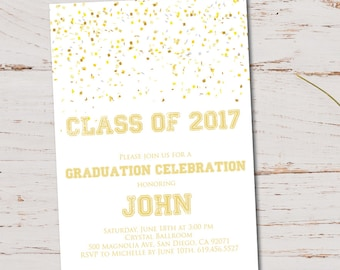 ON SALE -- Class of 2017 Graduation Invitation Card (graduation announcement) - Print at Home or E-card--White and Gold -- DIY Printable