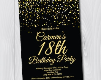 18th Birthday Invitation/Printable Gold & Black Birthday Invitation/e-card invitation/Template/Birthday Invitation/eighteenth birthday