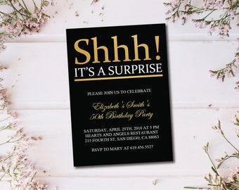 Birthday Invitation Template Printable Gold White Birthday