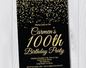 100th birthday invitations etsy 100th birthday invitationprintable gold black birthday invitatione card invitationtemplatebirthday invitationone hundredth birthday filmwisefo