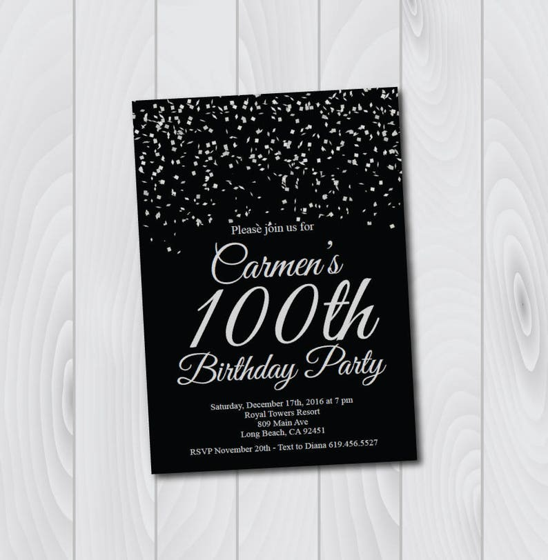 ANY AGE And COLOR 100th Birthday Invitations Printable Silver