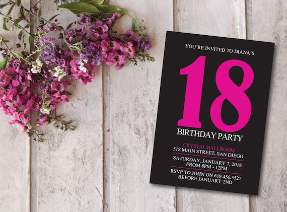 Birthday Invitation Card Printable Pink Black