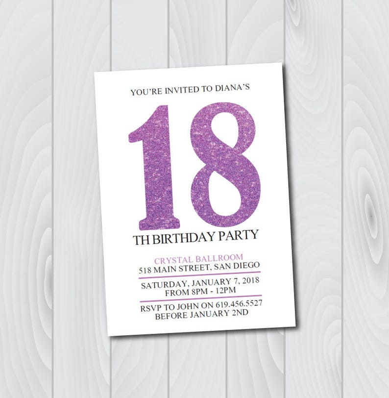 ANY AGE And COLOR 18th Birthday Invitation Printable Purple White Shimmer For Girls Women