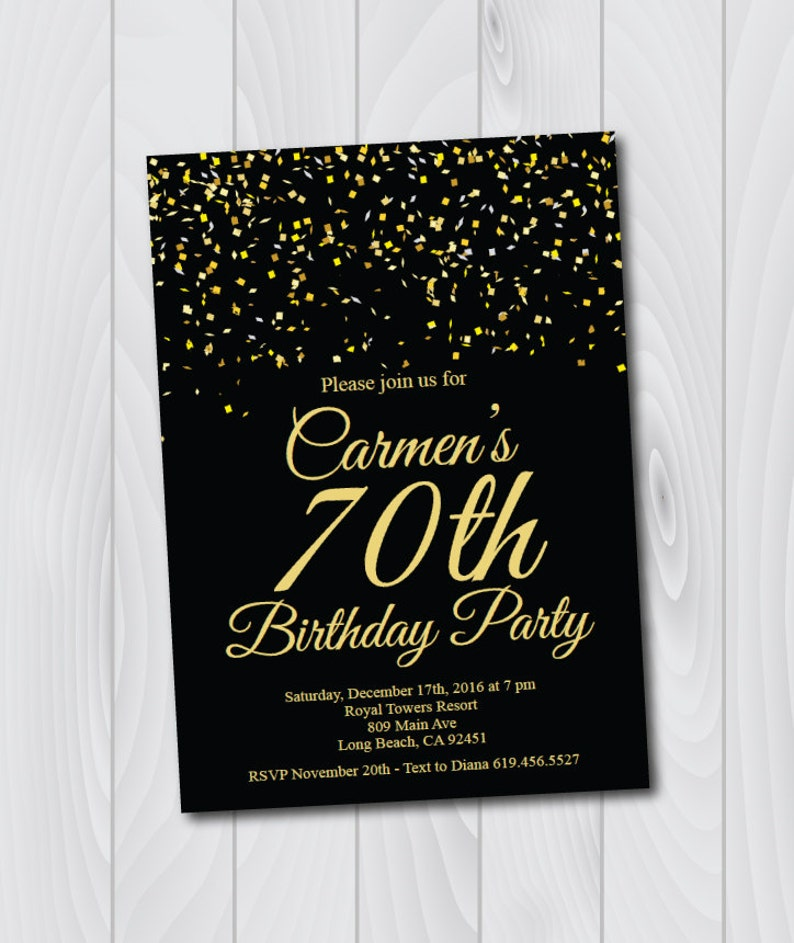 70th Birthday Invitation Printable Gold Black
