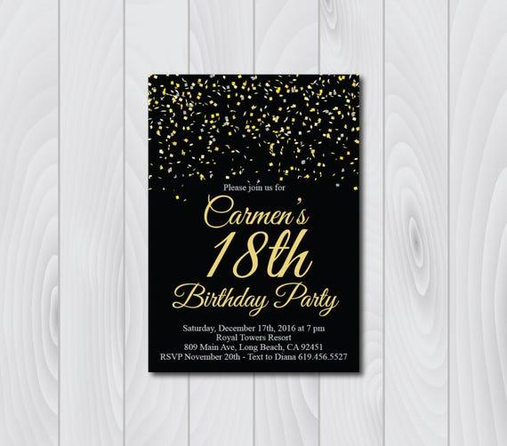 18th Birthday Invitation Printable Gold Black Silver E Card Invite Template Eighteenth