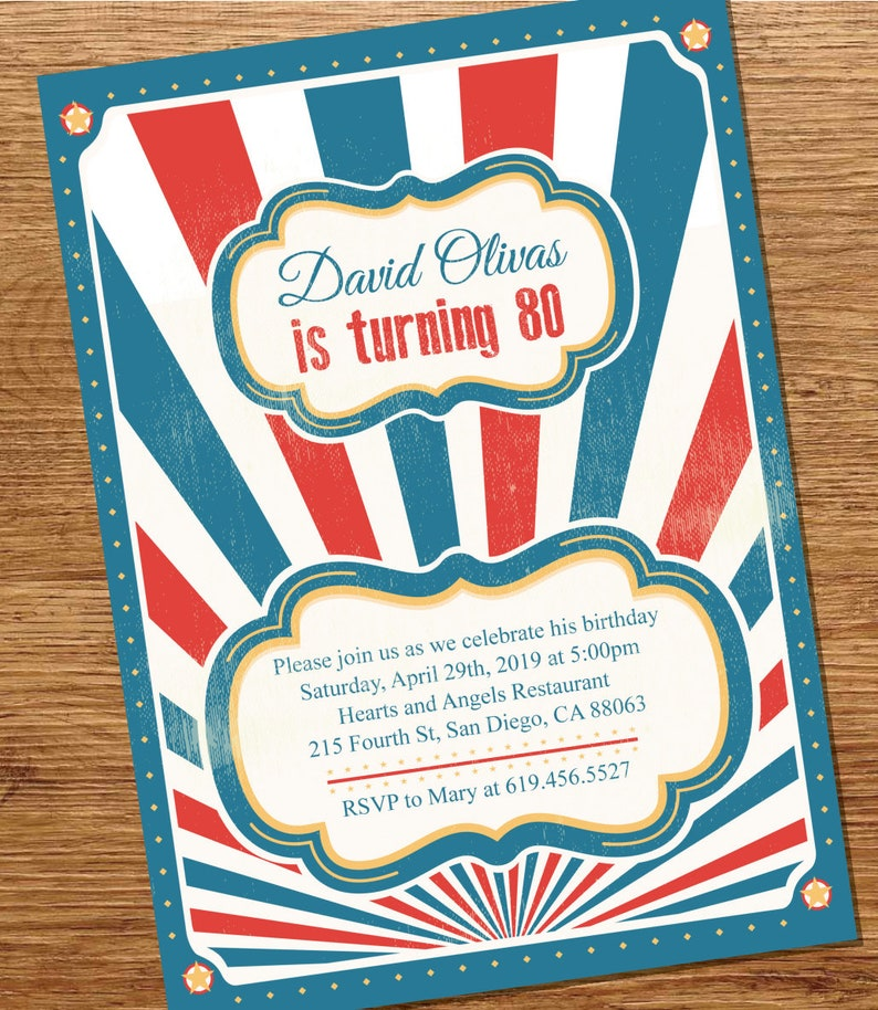 Vintage Carnival Birthday Invite Surprise Party  9a7bcc9dca