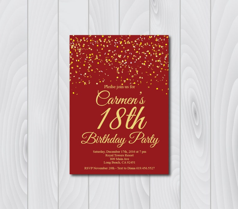 18th Birthday Invitation Printable Gold Red
