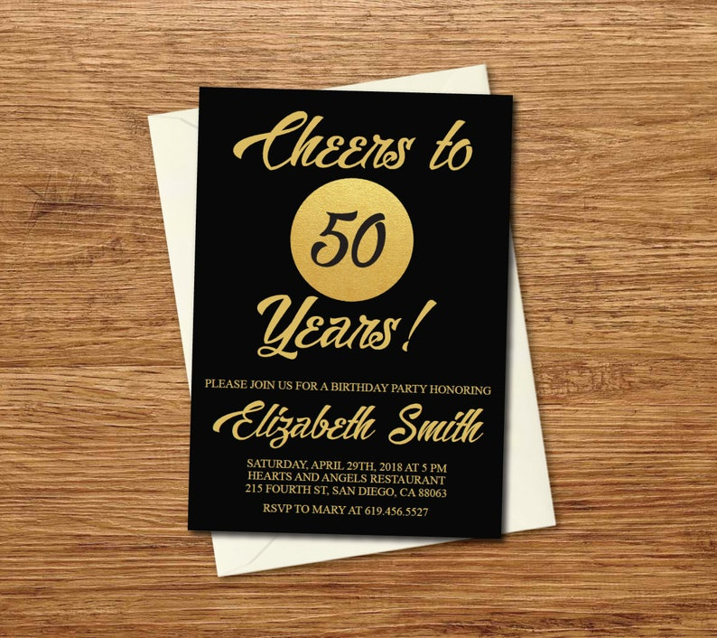 ANY AGE 50th Birthday Invitation Printable Gold Black