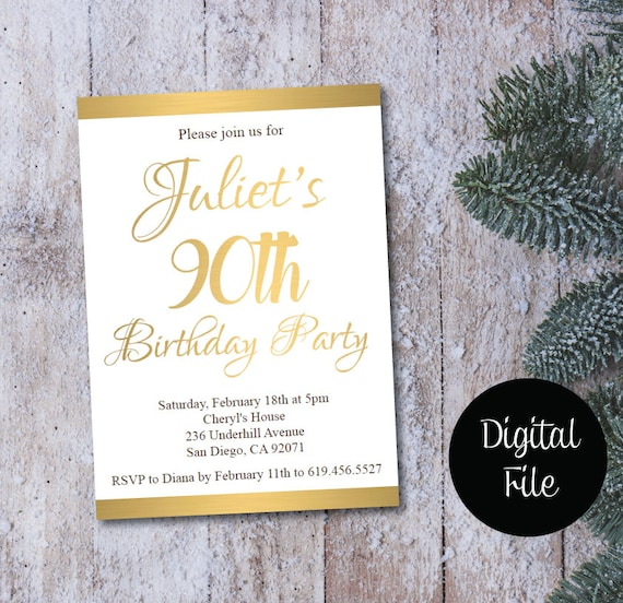 90th Birthday Invitation Printable Gold White