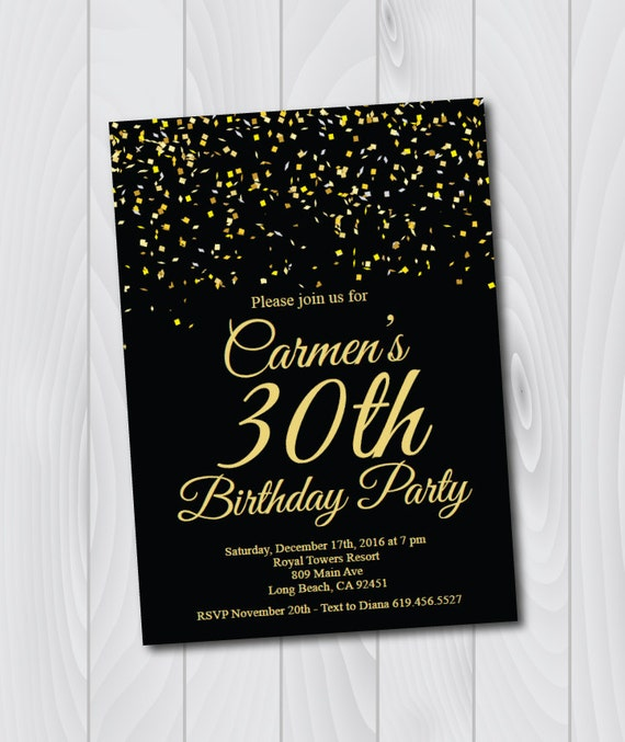 30th Birthday Invitation Printable Gold Black E Card Template Thirtieth