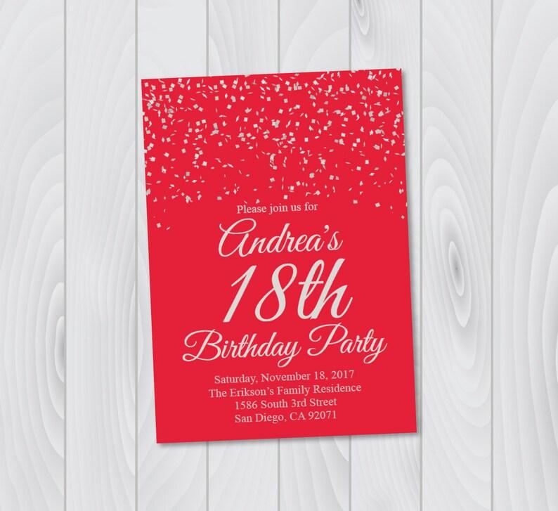 Red Birthday Invitations Makar Bwong Co