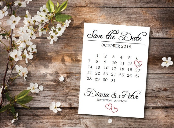 on sale printable save the date calendar postcard etsy