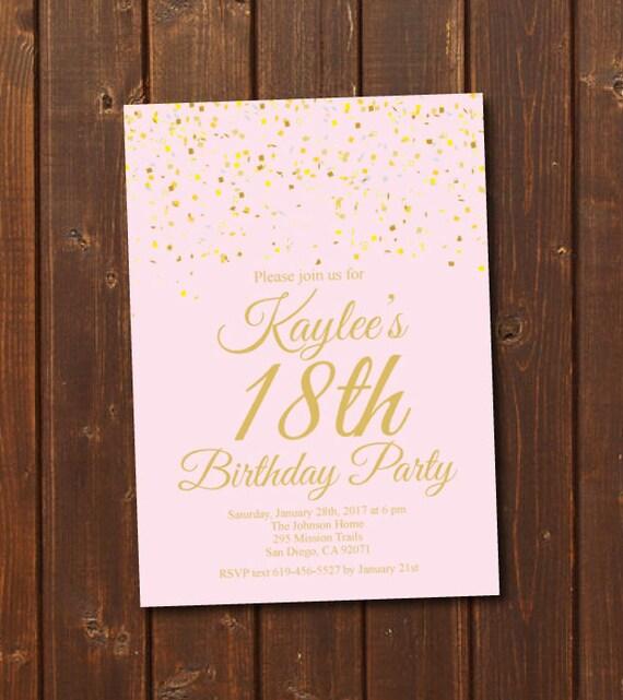 18th Birthday Invitation Printable Gold Pink