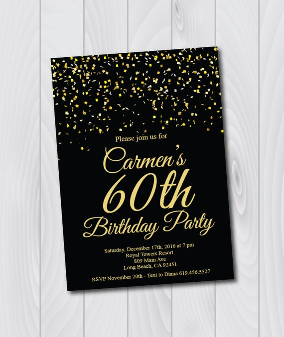 60th Birthday Invitationprintable Gold Black Birthday Etsy